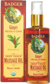 a bottle of Badger Ginger Massage Oil