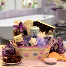 basket full of spa lotions and spa bath oils
