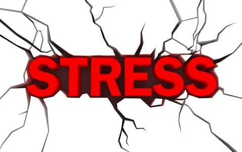 cracks around the word stress