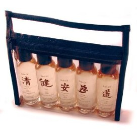 plastic pouch of five massage oils