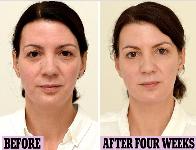 womans face before and after drinking more water